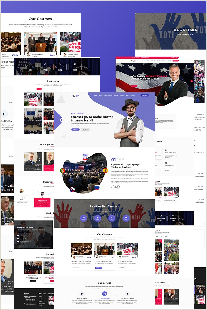 News Website Design Template Website Template Campaign Donation Election Custom