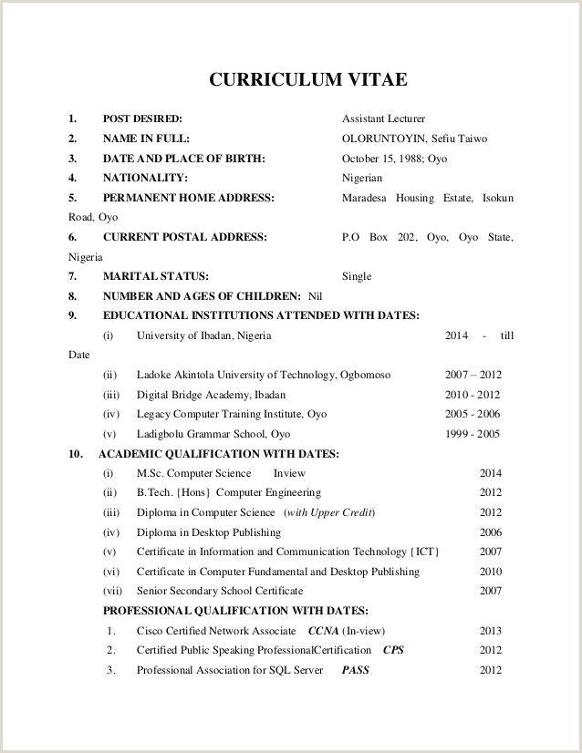 Nigerian Professional Cv format Image Result for Sample Of Curriculum Vitae In Nigeria