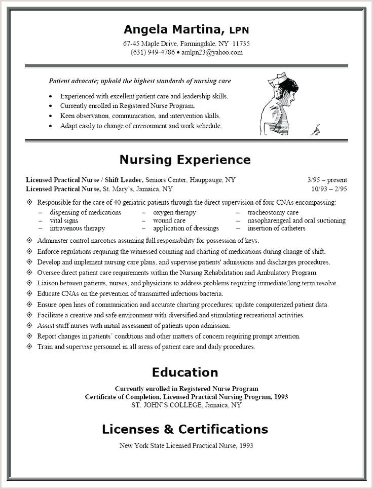 Resume for A Nurse Fresh Example Nursing Resume Nursing