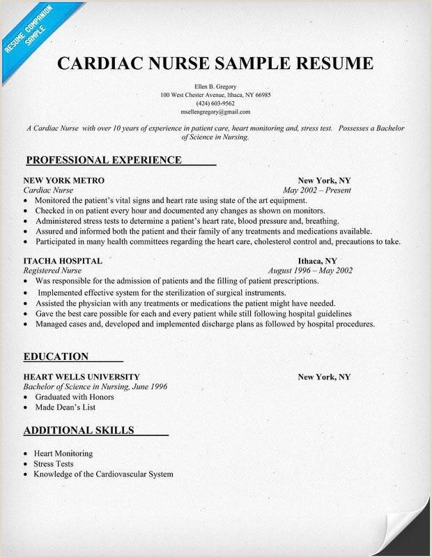 Sample Resume Nursing Sample Registered Nurse Resume Sample