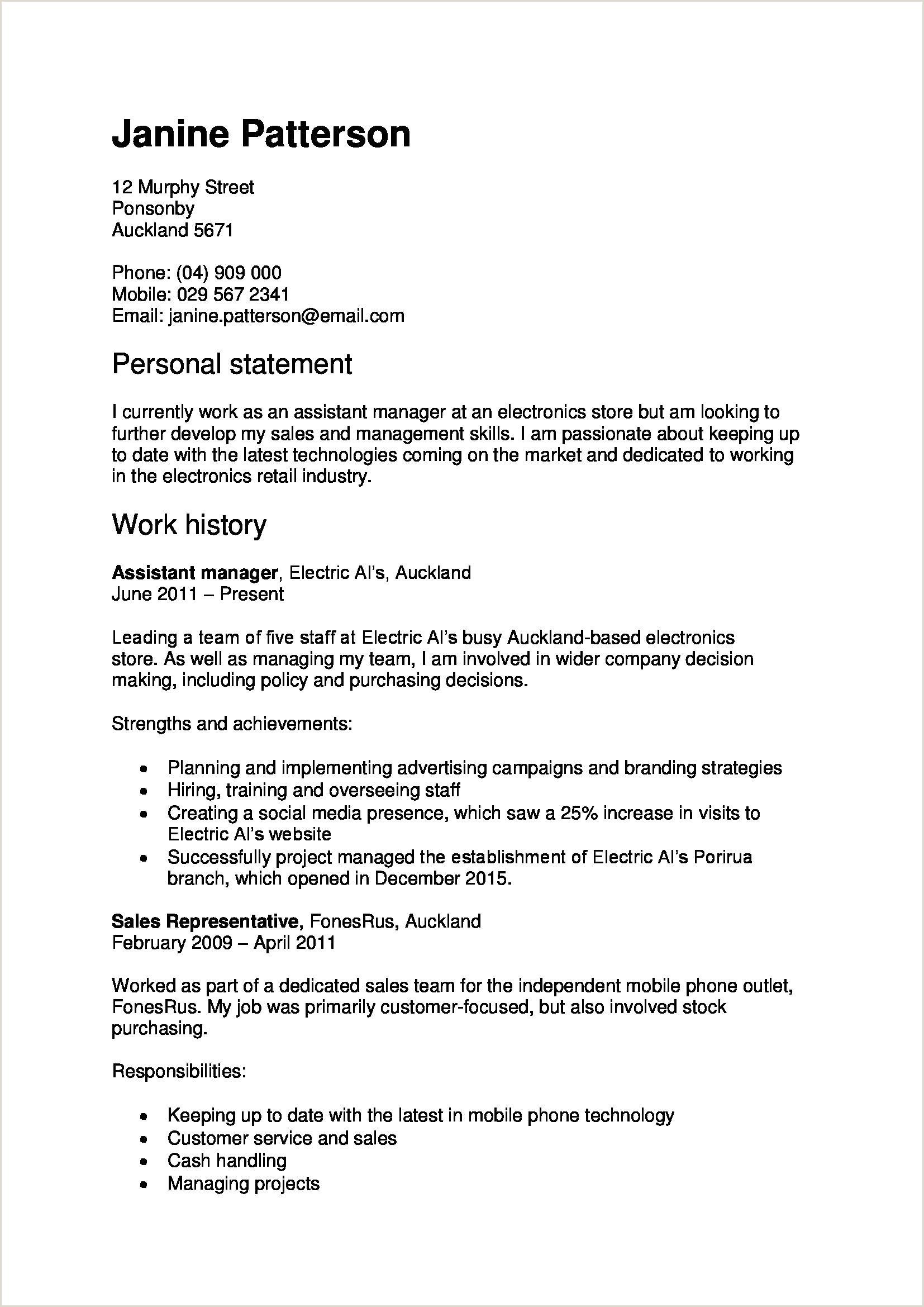 Resume Format New Zealand Resume Format