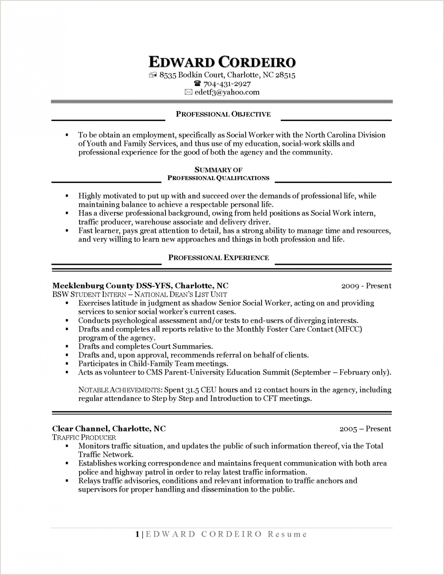 Objective for Internship Resume Sierra De Mesa — Psicologiaymediacion