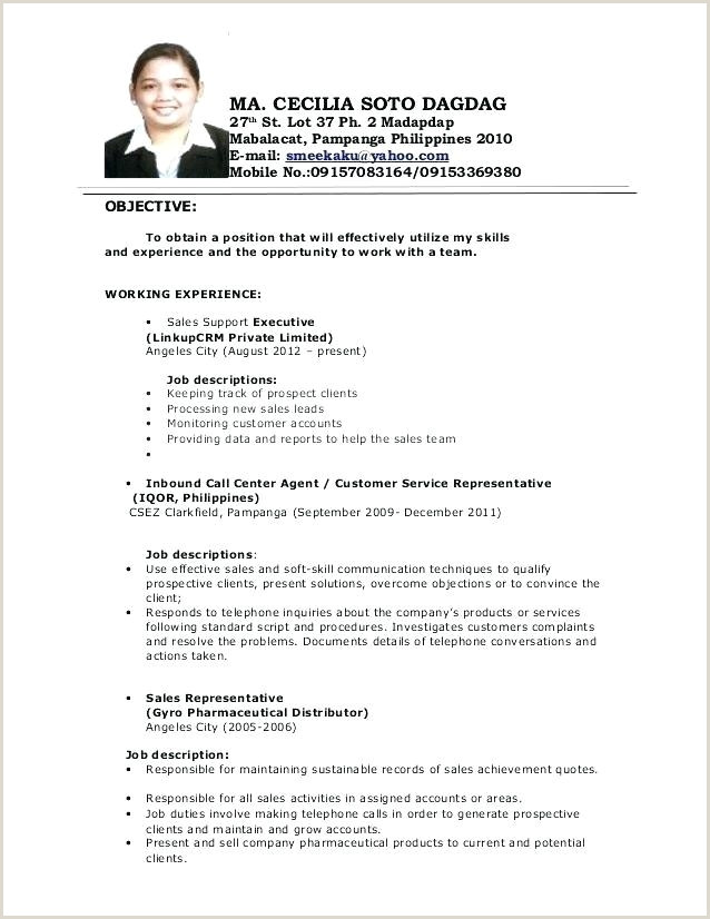 Objective In Resume for Call Center Agent without Experience 10 11 Resumes Samples for Customer Service Jobs