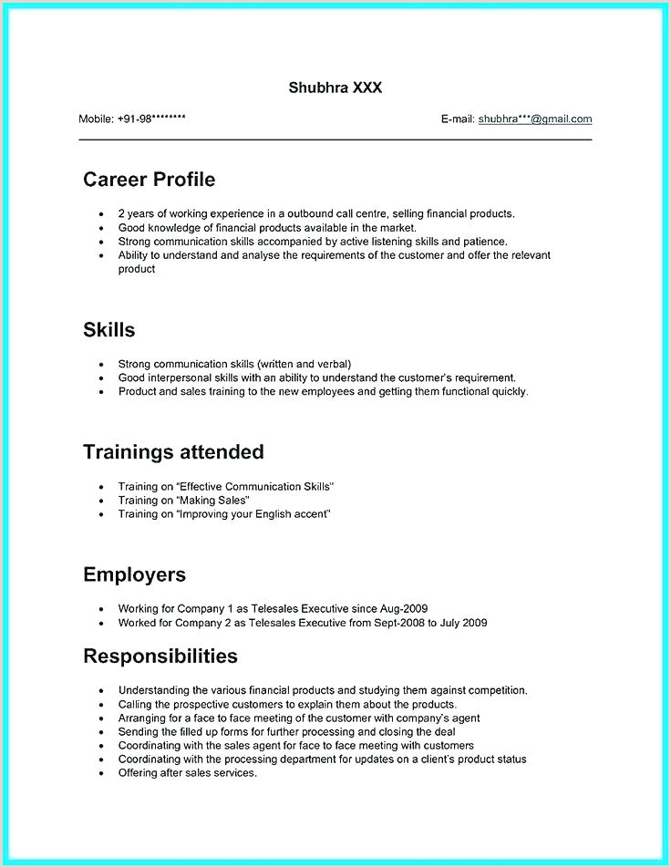Objective In Resume for Call Center Agent without Experience Call Center Sales Sample Resume – Ruseeds