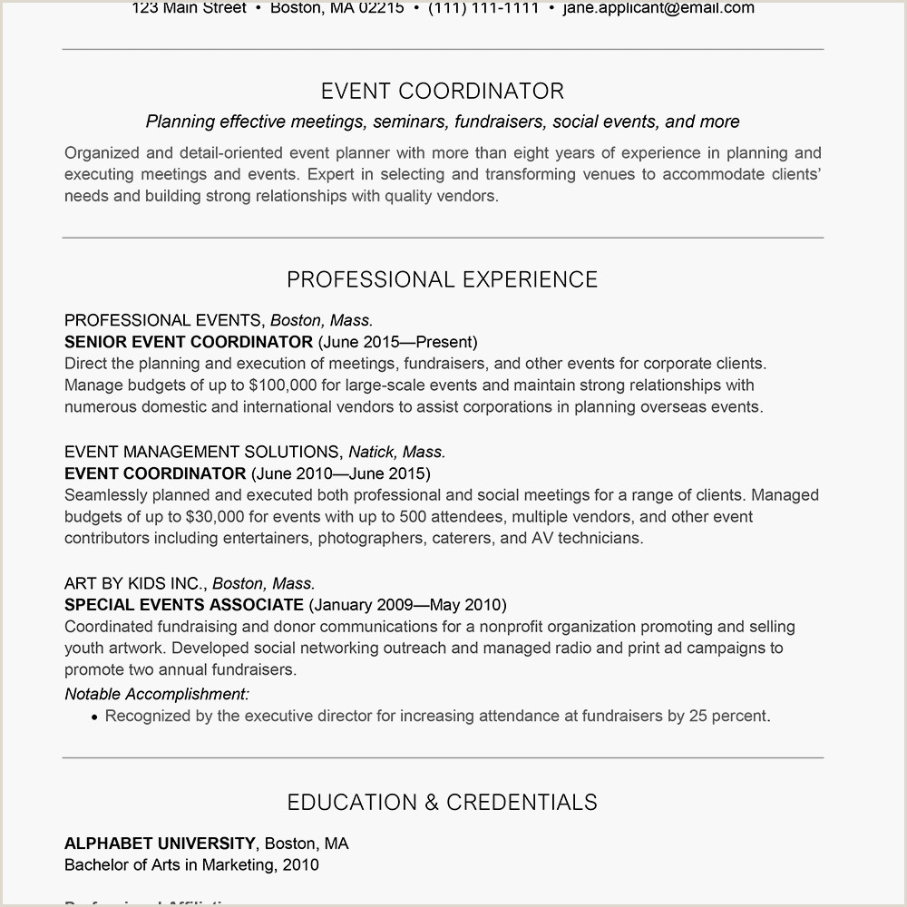 Objective In Resume for Call Center Agent without Experience event Planner Resume and Cover Letter Examples