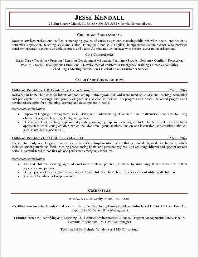 Objective In Resume for Teacher Cover Letter for Daycare New Daycare Resume Examples Teacher