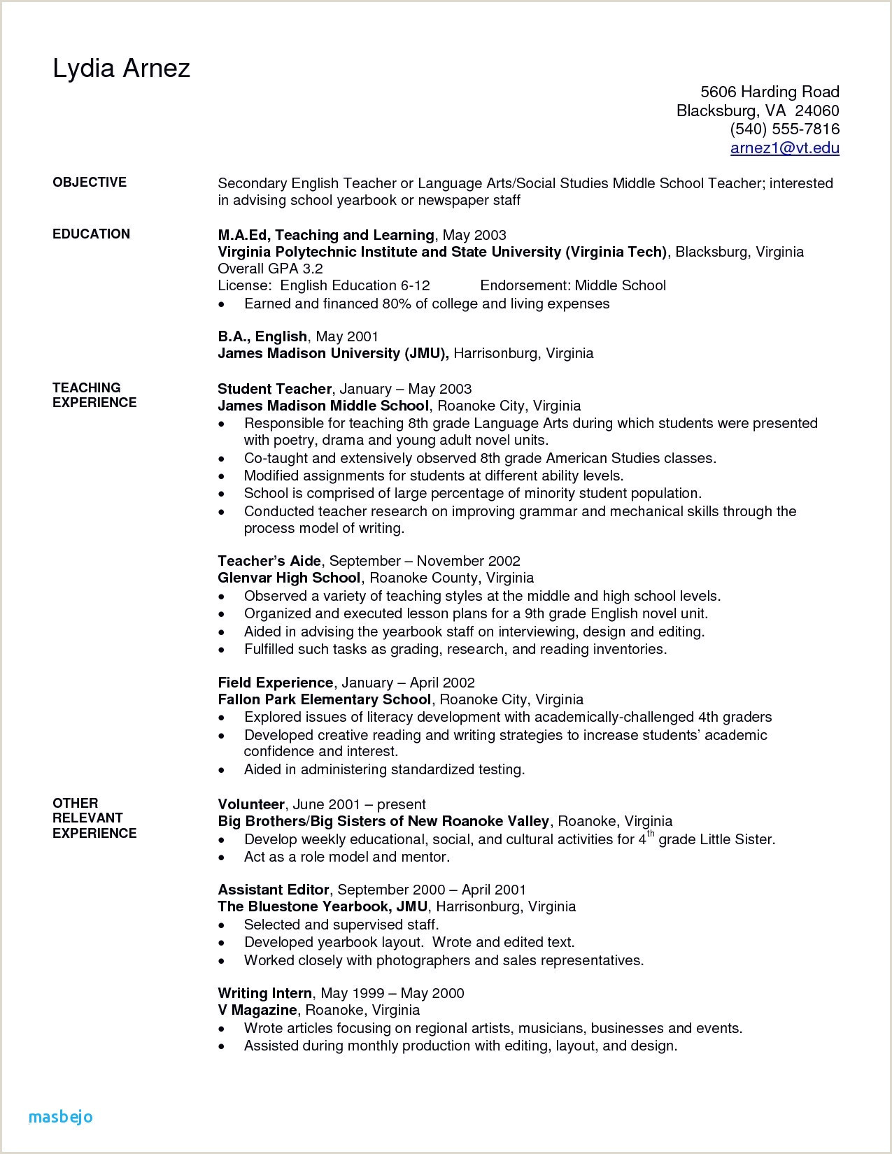 Objective In Resume for Teacher New Tutor Resume Sample