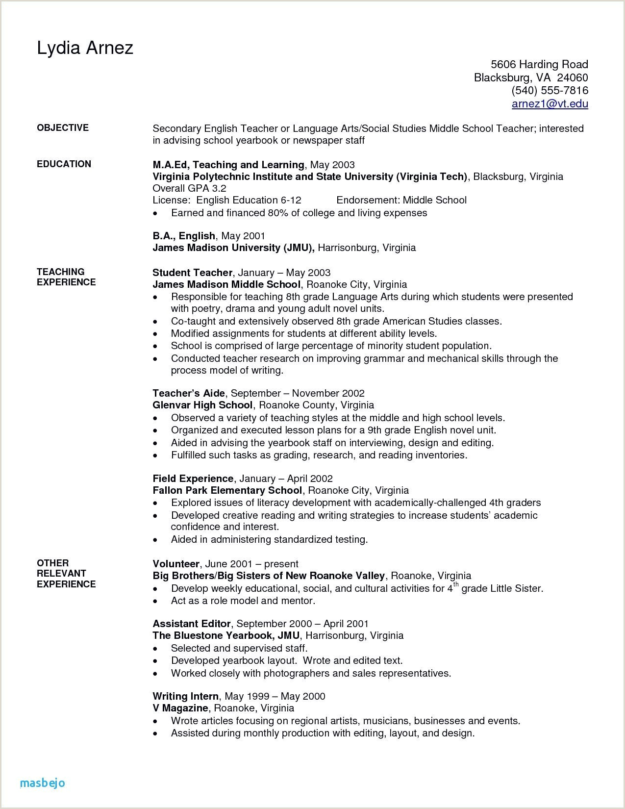 Objective In Resume for Teachers Resume Objective for Teacher