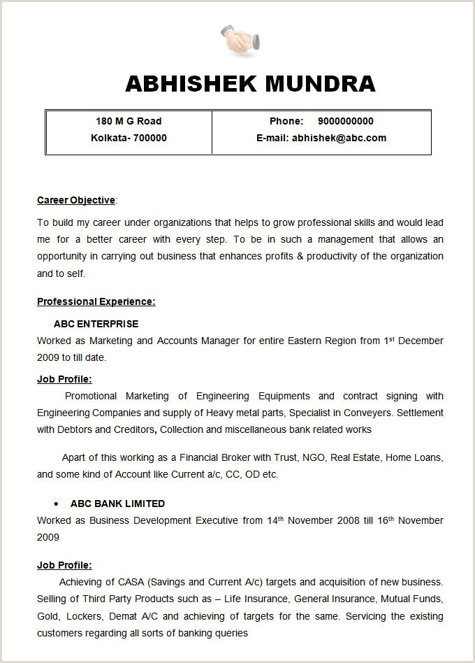 Inspirational Readymade Resume for Freshers – 50ger