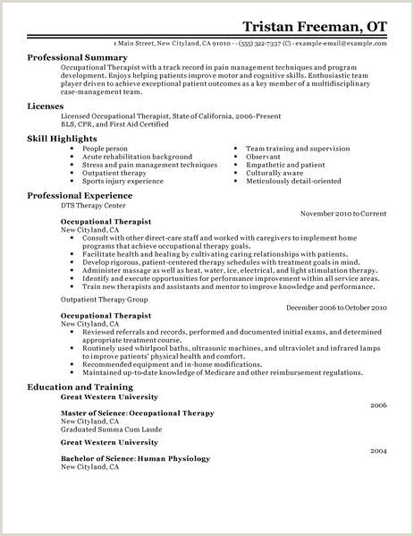 Best Occupational Therapist Resume Example
