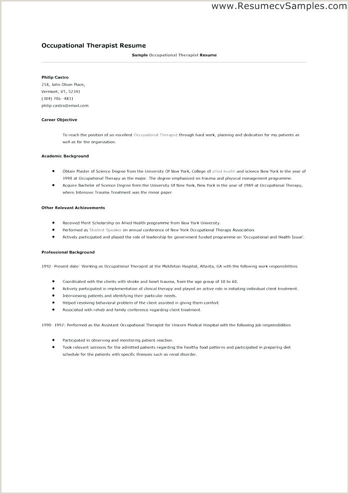 Occupational therapy Student Resume Example Occupational therapy assistant Resume – Thrifdecorblog
