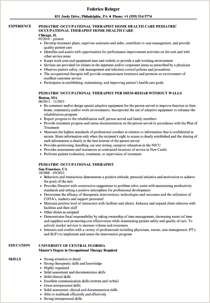 Occupational therapy Student Resume Example Pediatric Occupational therapist Sample Resume – Ruseeds