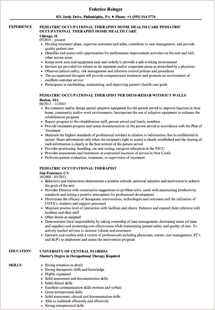 pediatric occupational therapist sample resume – ruseeds