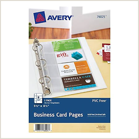 """Office Depot Business Card Paper Avery Business Card Pages 5 1 2"""" X 8 1 2"""" Clear Pack 5 Item"""