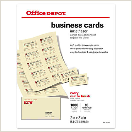 "Office Depot Business Card Paper Fice Depot Brand Matte Business Cards 2"" X 3 1 2"" Ivory Pack 1 000 Item"