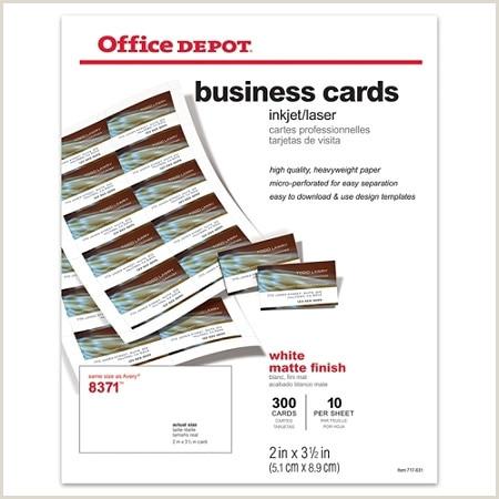"Office Depot Business Card Paper Fice Depot Brand Matte Business Cards 2"" X 3 1 2"" White Pack 300 Item"