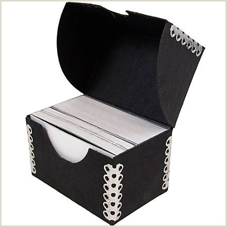 "JAM Paper Business Card Box 2 1 2""H x 4""W x 3 4""D Black Item"