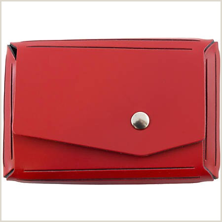 """JAM Paper Leather Business Card Case Angular Flap 2 1 2"""" x 4"""" x 3 4"""" Red Item"""
