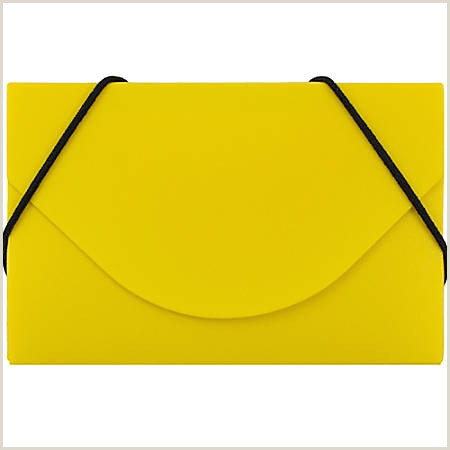 """JAM Paper Plastic Business Card Case With Round Flap 3 1 2"""" x 2 1 4"""" x 1 4"""" Yellow Item"""