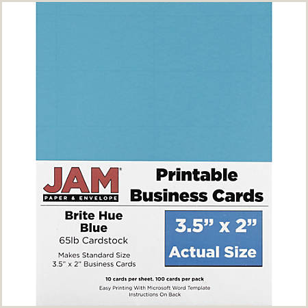 """JAM Paper Printable Business Cards 3 1 2"""" x 2"""" Blue 10 Cards Per Sheet Pack 10 Sheets Item"""