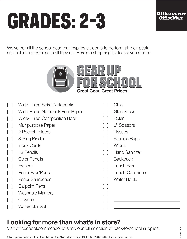 Office Depot Business Card Paper School Supply List Grades 2 3