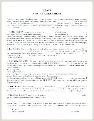 Ms Word Generic Rental Agreement Form Template Excel Lease