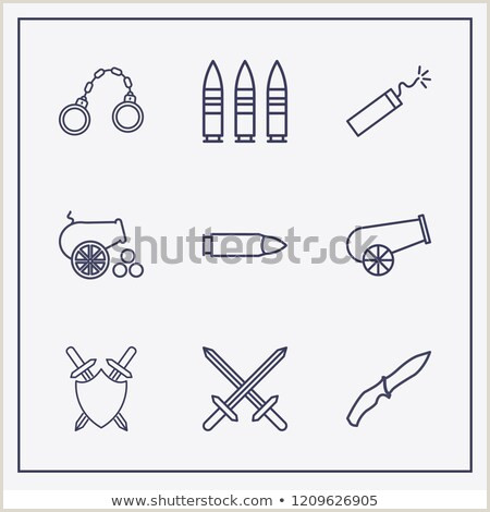 Outline 9 War Icon Set Cannon Stock Vector Royalty Free