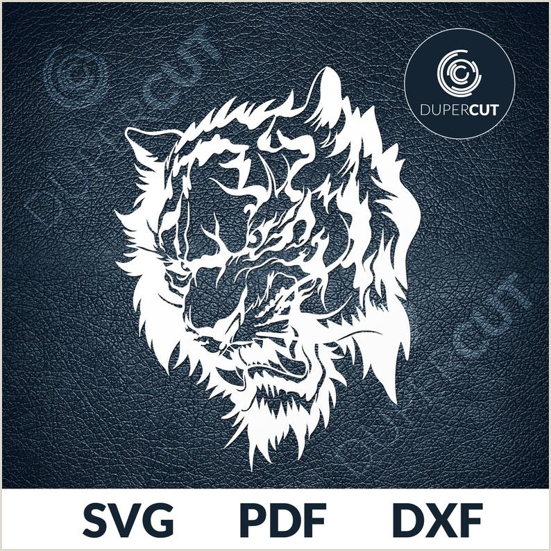 Paper Cutting Designs Template 2 Designs Svg Pdf Dxf Cut File Paper Cutting Template Roaring Tiger Papercut Diy Project Printable Clipart Screen Printing Dupercut