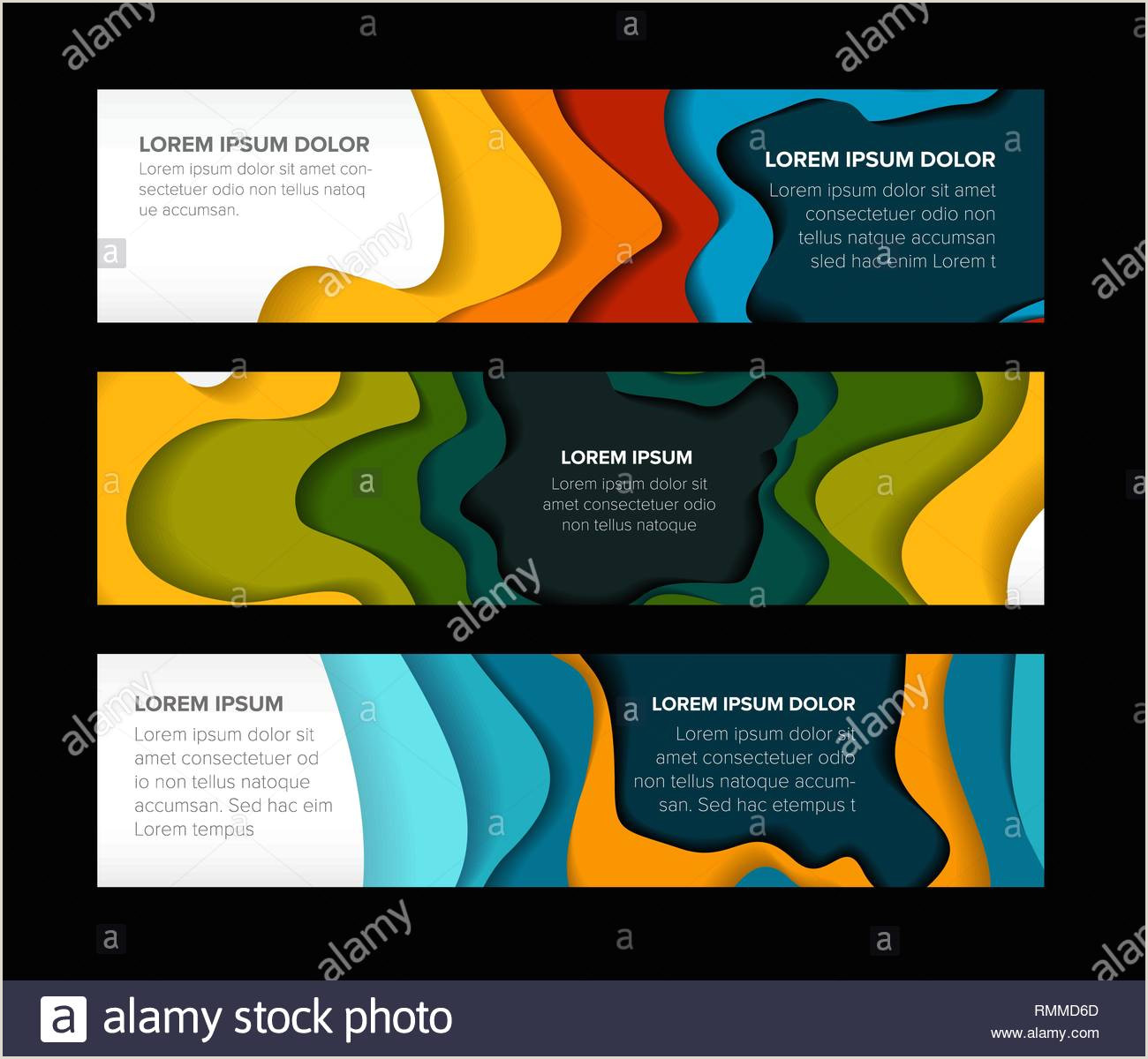 Set of horizontal banners templates with abstract colorful
