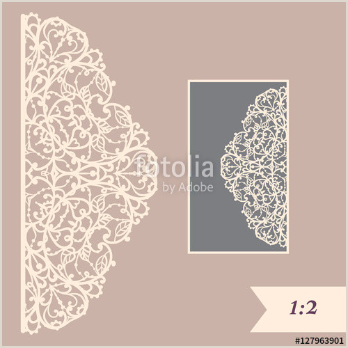 Paper Cutting Designs Template Wedding Invitation or Greeting Card with Abstract ornament