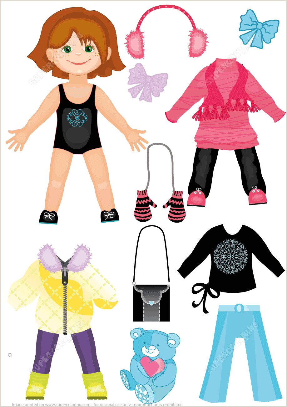 Set of Winter Clothes for a Cute Girl Paper Doll from Dress