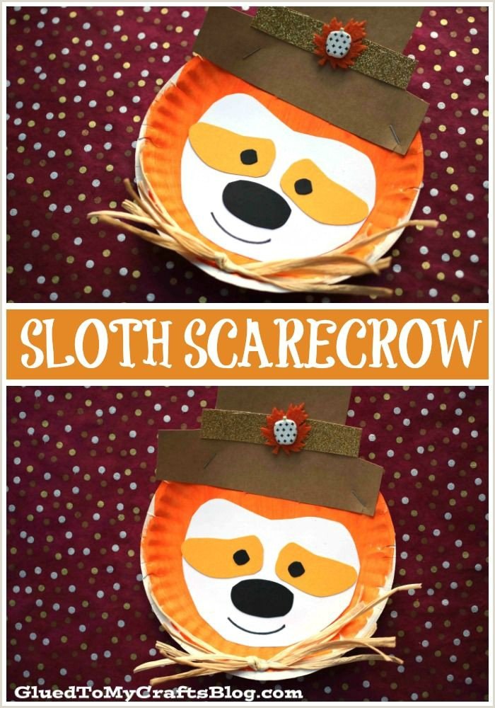 Paper Plate Sloth Scarecrow Kid Craft