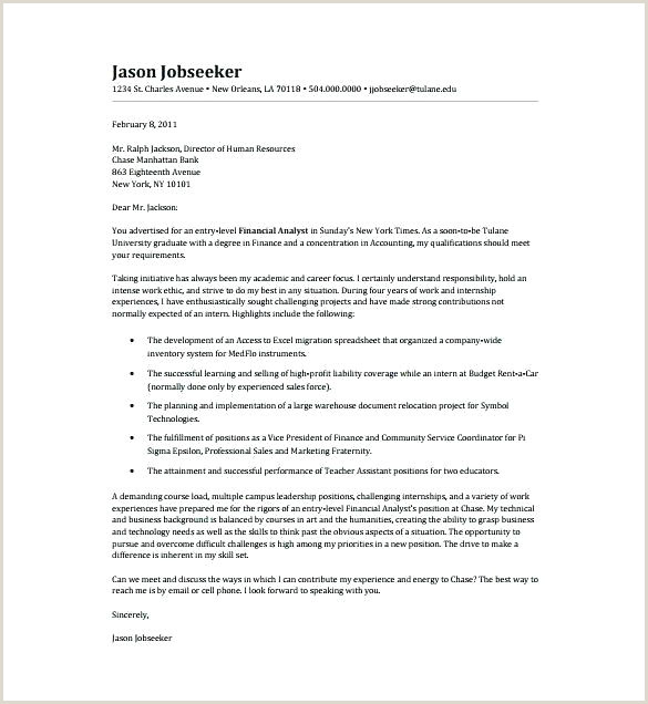 Cover Letter Examples For Financial Analyst Entry Level