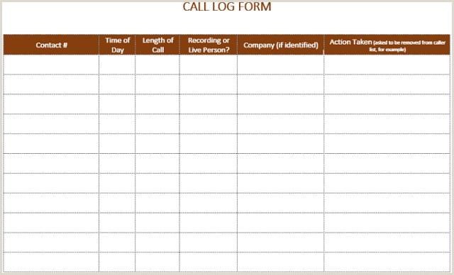 Printable Phone Call Log Template