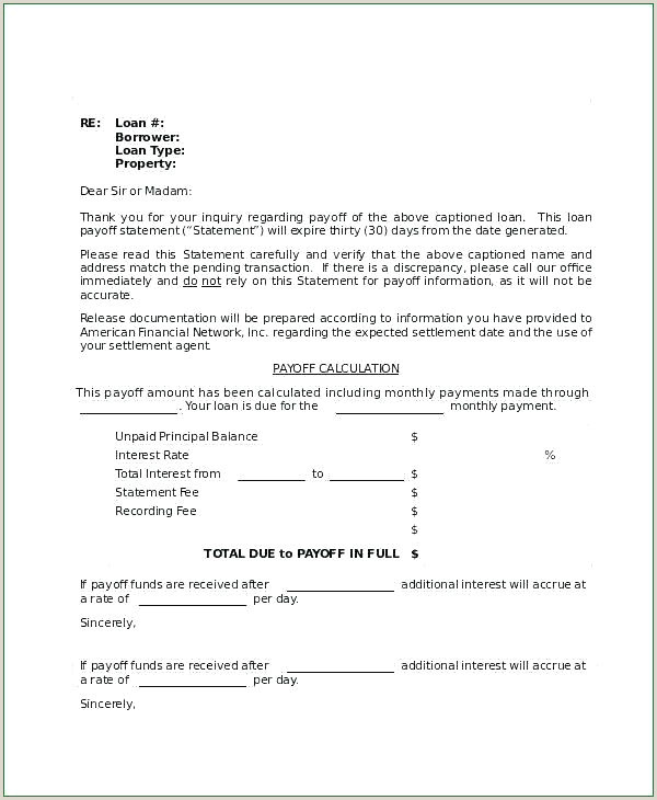 Payoff Statement Template Word Payoff Request Letter Template