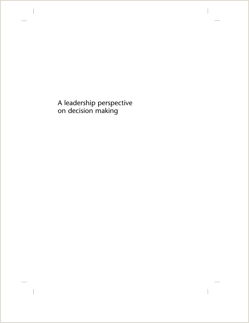 Personal Leadership Philosophy Essay Pdf A Leadership Perspective On Decision Making