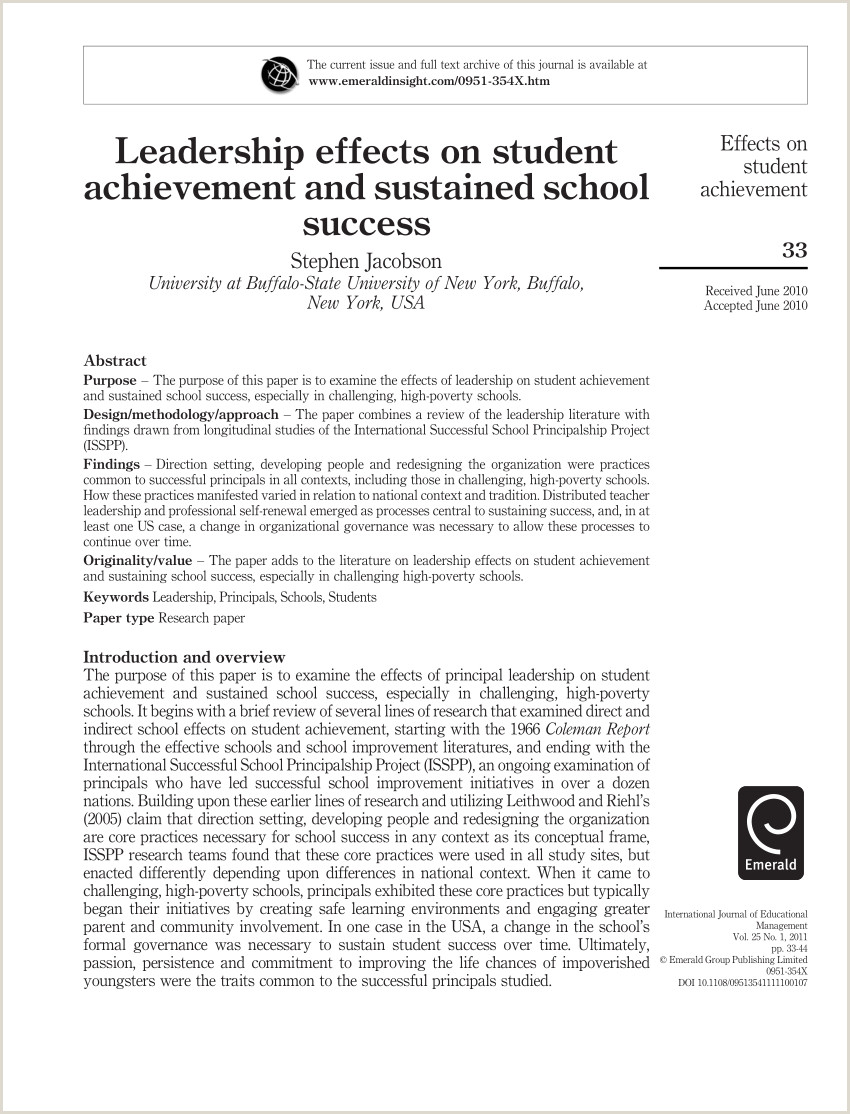 PDF Leadership effects on student achievement and sustained