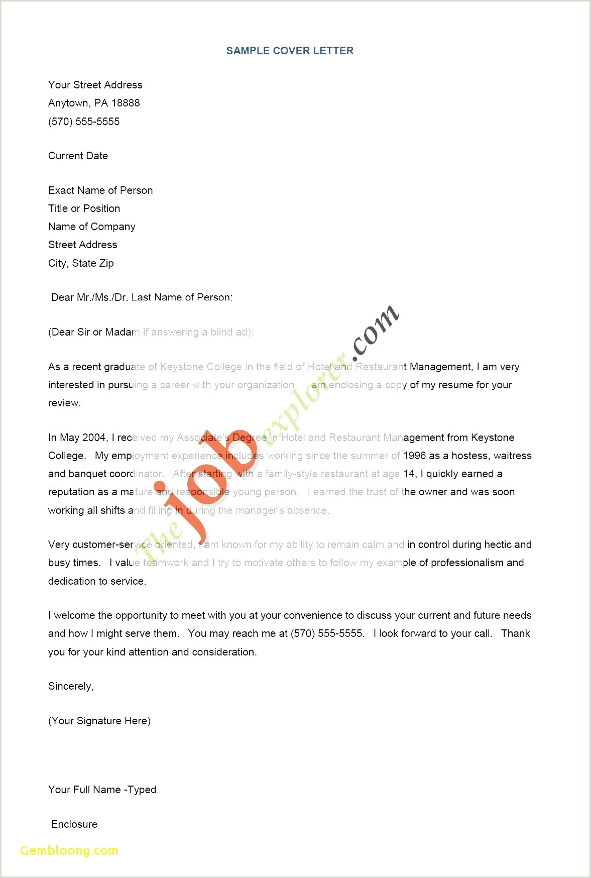 Cover Letter for Recent Graduate