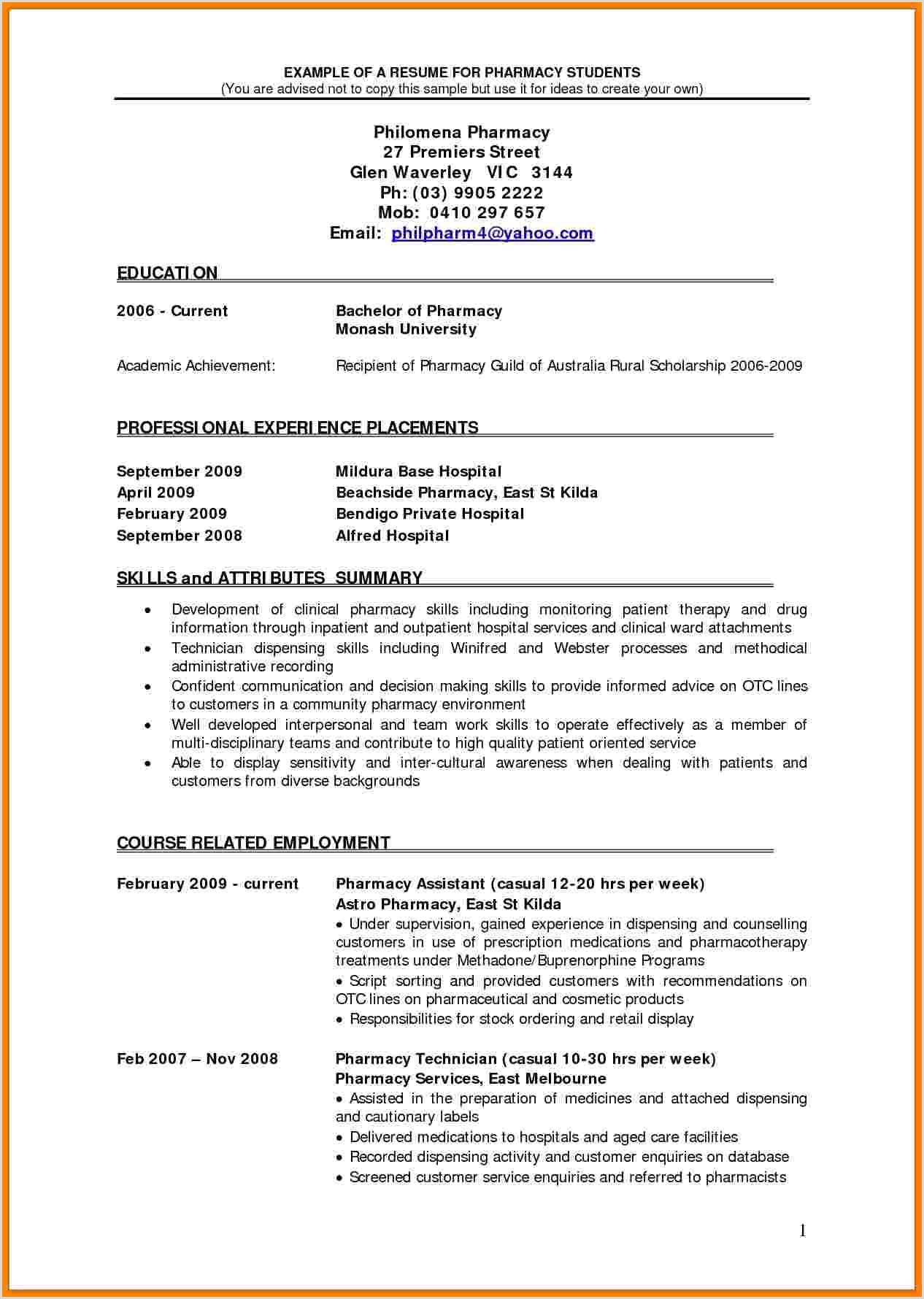 Pharmacist Curriculum Vitae Examples 5 Cv Pharmacist Example