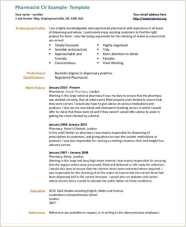 Pharmacist Cv Example Pharmacist Cv Sample – topgamers