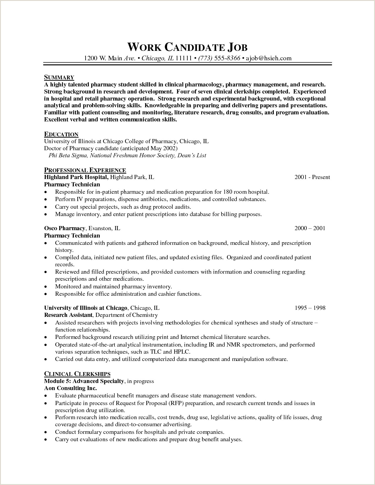 Pharmacist Resume Objective Professional Resume Cover Letter Sample