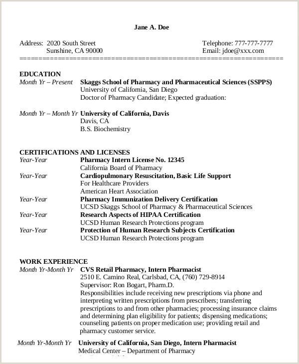 Pharmacy Curriculum Vitae Examples 33 Curriculum Vitae Samples Pdf Doc