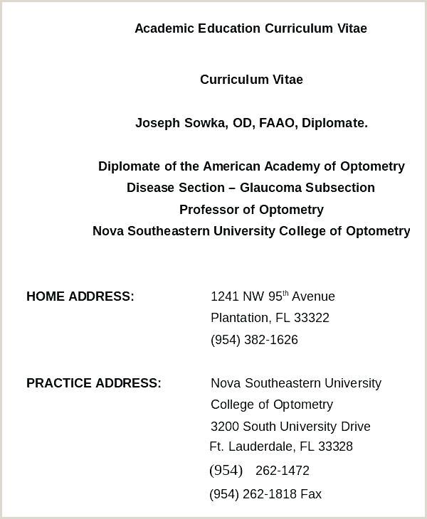 Resume Format For Word Sample Professor Template