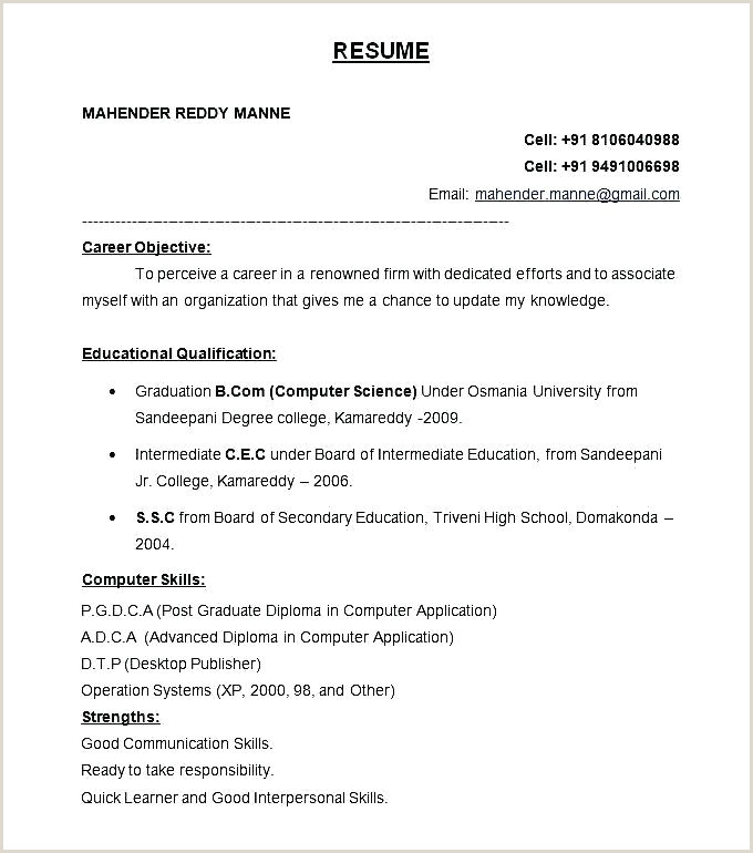 Pharmacy Fresher Resume format Download In Ms Word Standard Resume Objective – Viragoemotion