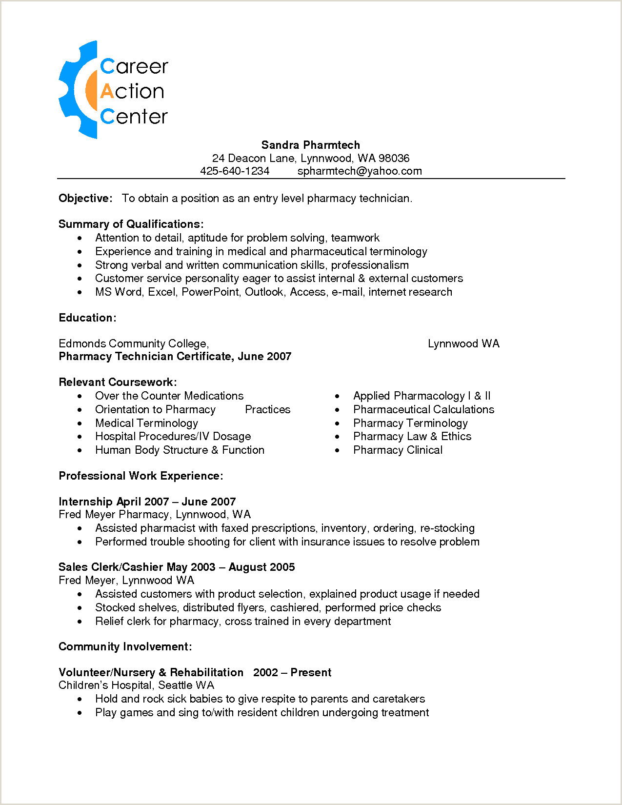 Pharmacy Tech Resume Entry Level Auto Mechanic Helper Resume Sample Technician Veterinary