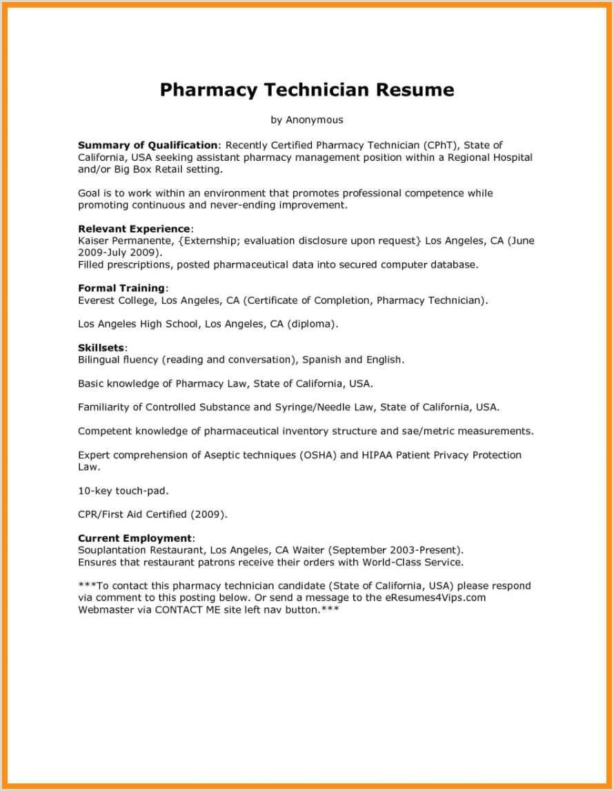 Pharmacy Tech Resume Skills Tutlin Stech mla format