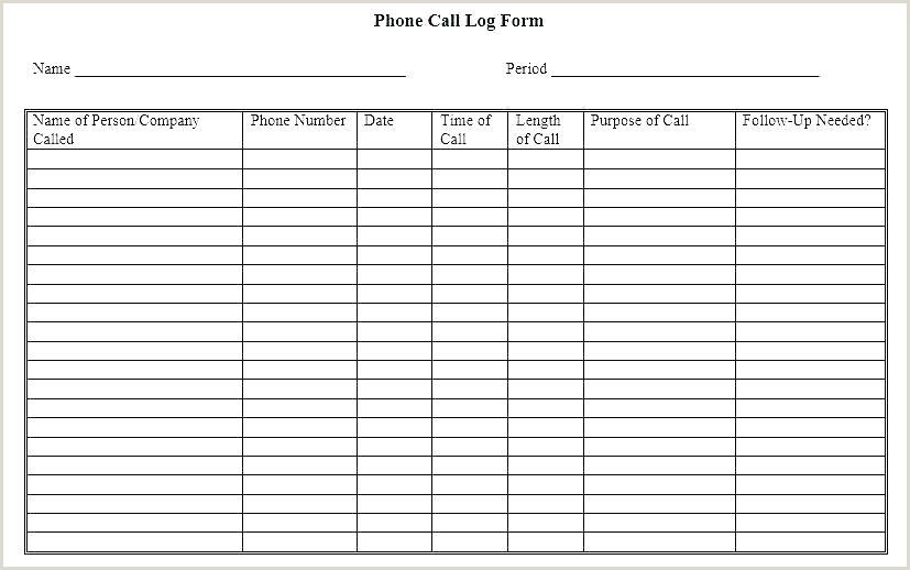 free printable phone log template