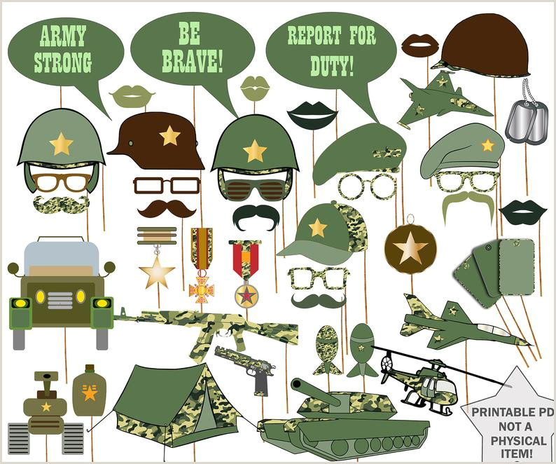 "Army Booth Props ""MILITARY PROPS"" Army Printable props Military party props Army theme party Army booth Boys party props"