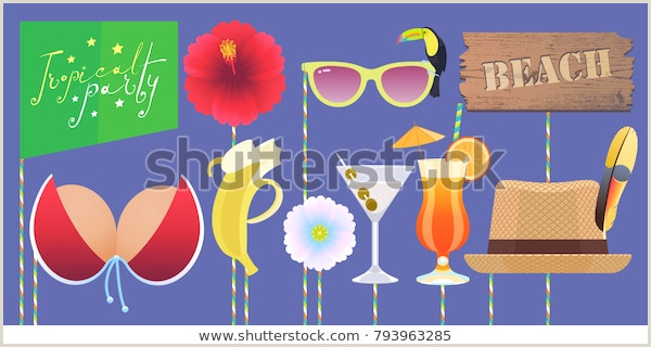 Booth Printable Props Collection Tropical Stock Vector