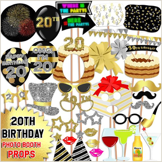 Photo Booth Props Templates Digital 20th Birthday Photo Booth Props 20th Birthday Party